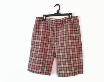 Mens Vintage Haggar Walking Shorts Size 36 Plaid Flat Front