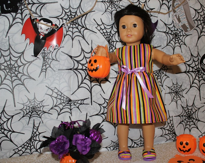 Ready for Halloween! This Dress is Made for Dolls like American Girl, Our Generation Strip Print Dress, and Shoes, FREE SHIPPING