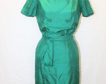 Mancini Emerald Green Vintage Silk Wiggle Dress 1950's, Mad Men, Pin Up