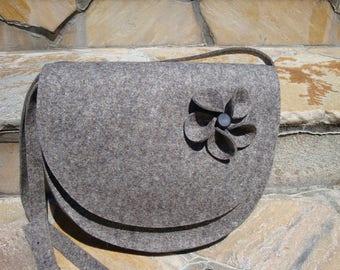Crossbody bag, felt, gray, with flap, fall fashion, winter fashion