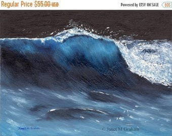 SALE Moonlit Wave  Seascape  Sea  SFA - An original hand painted seascape oil painting by Australian Artist Janet Graham