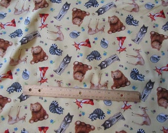 Yellow Woodland Animal Bear/Deer/Wolf/Racoon/Fox Cotton Fabric by the Yard