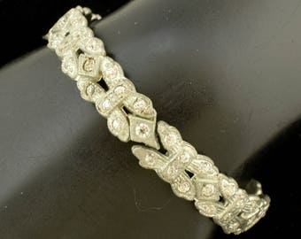 Old 1930s Pot Metal Rhinstone Bracelet Art Deco Hinged Bangle ~ Lot 1578