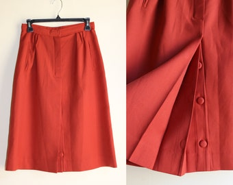 Rust Colored Skirt with Pleated and Button Up Front Slit with Pockets ||| 1970s ||| Size 4