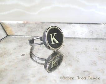 Typewriter Key Vintage Letter K Ring