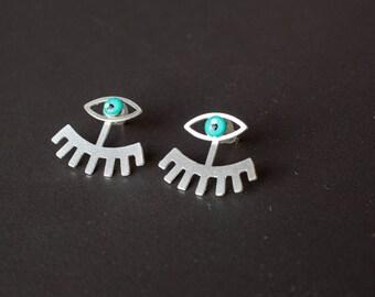 Silver eye jacket Earrings eyelash Statement Trendy Minimal Ear Climber Ear, silver Evil Eye Stud Earrings