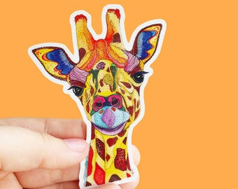Vinyl Giraffe Sticker - Animal Sticker, Waterproof Sticker, Giraffe Decal, Laptop Sticker, Bumper Sticker, Phone Sticker, Ipad Sticker