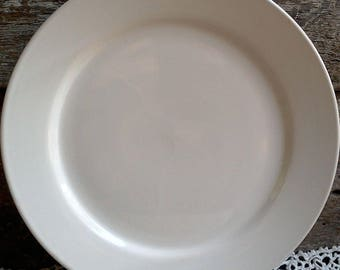 """Antique Plain White Ironstone Dinner Plate, 10 5/8"""", Ironstone, White, Large, Charger, Tableware, French Country, Farmhouse Decor, Rustic"""