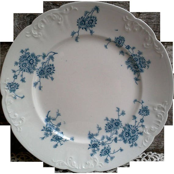Blue Transferware Floral Plate, Millais, Colonial Potteries, Stoke England, Serving, Embossed Relief