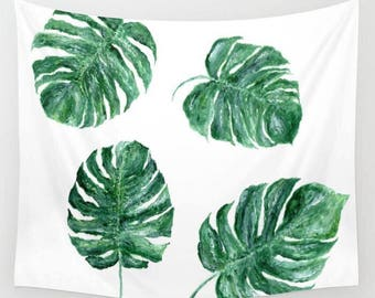 Monstera Leaf Wall Tapestry, leaves tapestry, tropical leaf tapestry, monstera tapestry, monstera leaf, palm leaf tapestry, palm leaves
