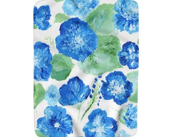 Blue White Floral Fleece Blanket, blue white blanket, blue floral blanket, floral throw blanket, flower throw blanket, blue fleece blanket