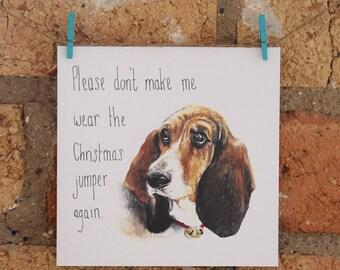 Illustrated Dog Christmas Card