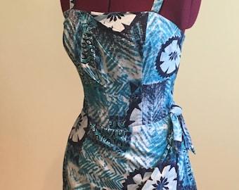 Blue Hawaii Tiki Batik Print Swimsuit Playsuit 60s 1960s XS S
