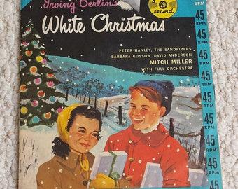 Irving Berlin's White Christmas, Children's 45 RPM from 50s,  Vintage Vinyl Record