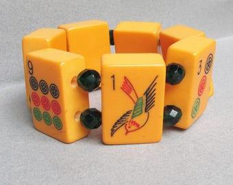 Vintage Bakelite Mahjong 7 Tiles Stretch Bracelet, Green Czech Crystal Spacer Beads