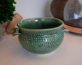 Spiked green ceramic pot, planter, succulent pot, flower pot, small planter