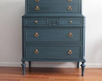 French Blue/Black Tall Dresser/Chest of Drawers/Bureau/Highboy