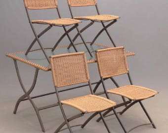 SOLD Vintage Patio Dining Set Wicker Metal and Glass