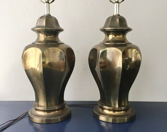 vintage brass ginger jar lamps pair patina glam chinoiserie