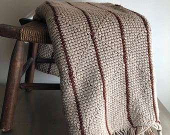 vintage afghan throw neutrals taupe and brown striped
