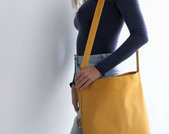 Yellow Leather Tote, Suede leather, Leather Crossbody, Yellow Leather Bag, Soft Leather Bag, Magnet Closer, Lightweight Leather, Carry Bag