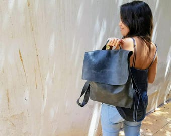 Leather Backpack Women, Zipper Laptop Backpack Bag, Messenger Backpack, Laptop Messenger Bag, Messenger Bag, Leather Messenger Bag Woman