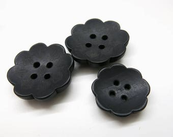 Buttons floral wooden/3 pieces