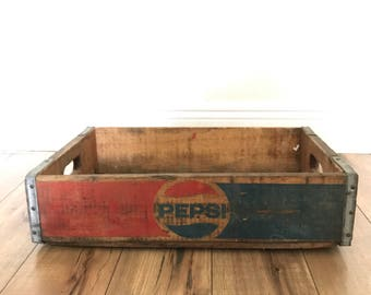 Vintage Pepsi Crate, Wooden Crate, Storage Box, Wooden Box, Cola Crate