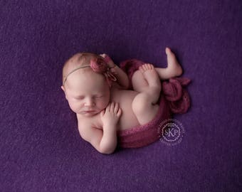 Newborn Photography Fabric Backdrop -  Camden Knit Backdrop - Plum - Newborn Backdrop Posing Fabric
