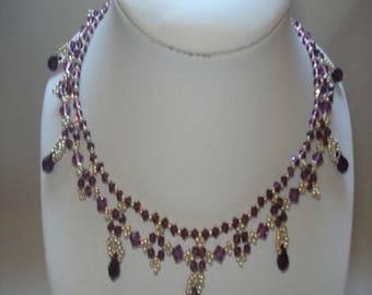 Amethyst beaded necklace 'night Moon'