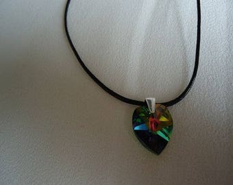Crystal vitrail medium Heart Necklace, leather and silver