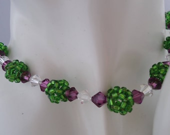 Necklace green ball and purple Crystal beads