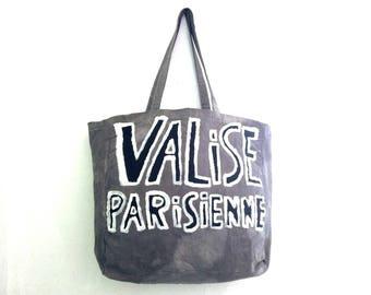 CUSTOM Valise Parisienne Outlined Cotton Shoulder Eco Tote BAG / Eve Damon