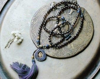 Beautiful faceted smoky quartz gemstone mala necklace