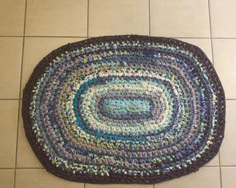 Mandala cloth rug, Crochet aqua purple and cream rag rug Oval 95 x 65cm Perfect for bathroom or kitchen