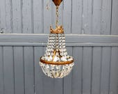 A vintage french, Montgolfier, Empire crystal glass, chandelier, ceiling light, pendant light