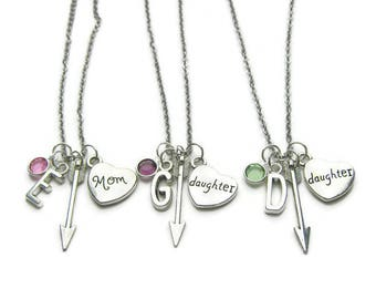 Personalized Mom And 2 Daughter  Arrow Necklaces, Mom 2 Daughter Birthstone Necklaces, Mom Necklace,2 Daughters Necklaces,Mother Daughter