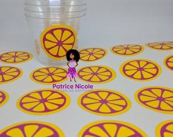 24 Pink Lemonade Cup Decals