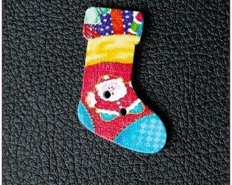"Wooden Christmas socks buttons ""model 07"" x 1"