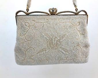 Vintage Beaded Evening Bag, Ivory Pearl, JAPAN, Bridal Purse, Bridal Evening Bag