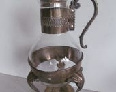 Leonard Silverplate Carafe Glass Coffee Carafe with Warming Stand Vintage Clear teapot Clear Glass Coffee Pot Coffee Warmer