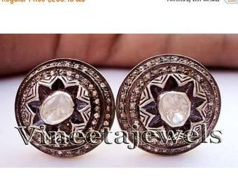 ON SALE 10% OFF Marvelous .925 Sterling Silver Vintage Inspired 2.01Ct. Rose Cut Diamond Earrings