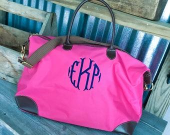 TOTE/Pink Nylon Weekender Tote Bag with Dual Handles