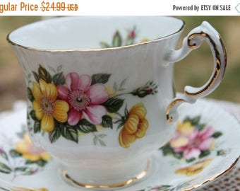 ON SALE Paragon Fine Bone China Teacup and Saucer Wild Roses.