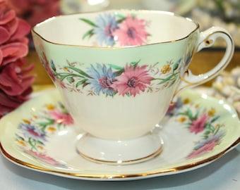 "FOLEY Bone China Teacup And Saucer Set ""Cornflower"""