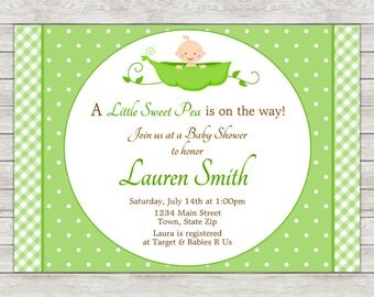 Sweet Pea Baby Shower Invitation   Printable File Or Printed Invitations