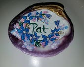 Hand Painted Lavender Personalized Clam Shell Example Beach Art by SallyTCrispCreations