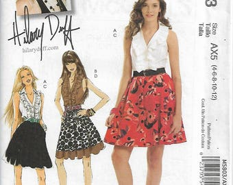 McCall's M5803 Size 4-6-8-10-12 Bust 29 1/2-34 Hillary Duff Misses' Tops and Skirts Sewing Pattern 2009 Uncut