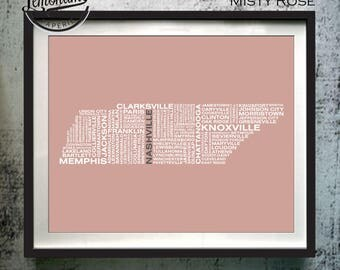 Tennessee Wall Art, Tennessee Typography Map Print, Tennessee Art Print, Tennessee Typographic Map, Tennessee Poster, Tennessee Unique Gift