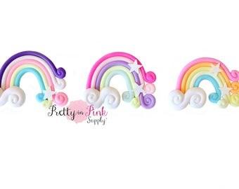 Rainbow Polymer STAR Clay Embellishment - Rainbow Applique- Embellishment- DIY Headband Supply